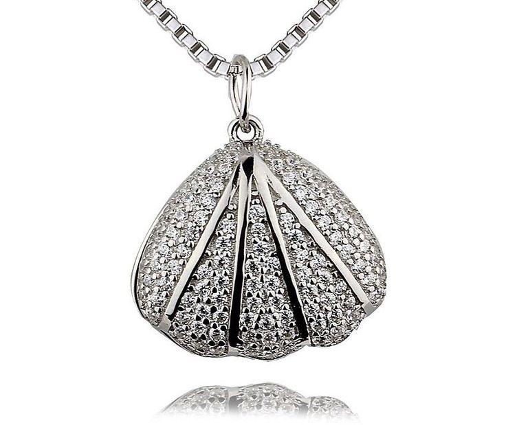 ++Muschel Silberkette mit Anhänger Echt 925er Sterling Silber+Süßwasser Perle+ +
