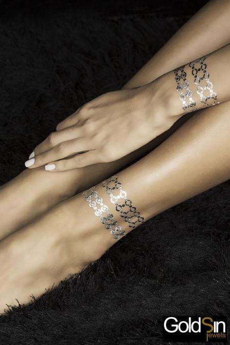 Tatouage Argent Pur Bracelet Plein et Foncé by Goldsin Jewels