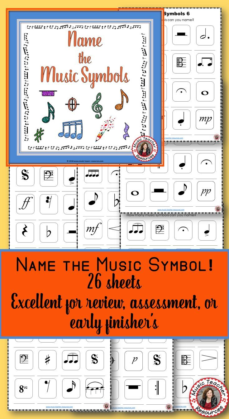 Music lessons | Music theory | 25 Name the Music Symbol Worksheets, each displaying 12 music signs/symbols. Check out the preview to see examples of the signs/symbols used. | #musiceducation #musised