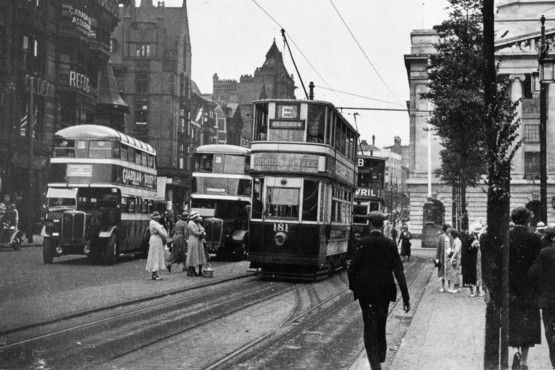 Old Market Square showing the loading islands for tram passengers 1930s