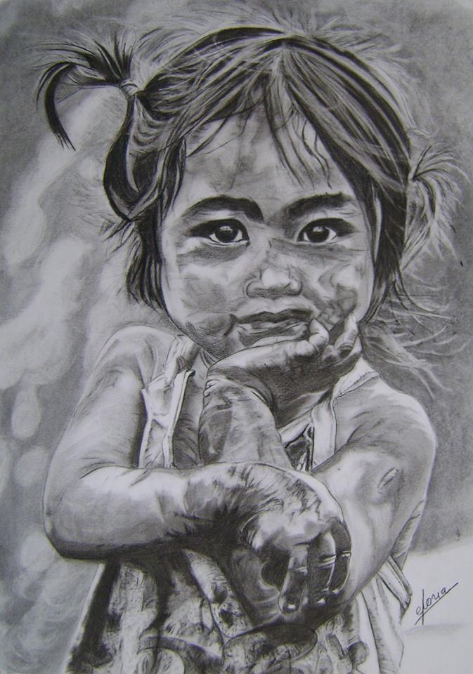 La niña Dibujo a carboncillo de 60 x 43 Millones de niños y niñas en el planeta viven en la pobreza. Millions of children worldwide live in poverty.