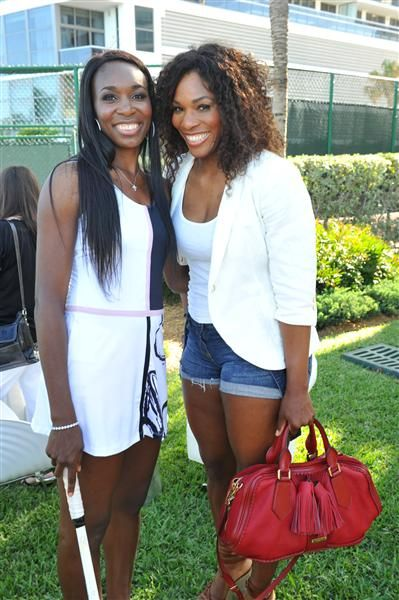 Venus and Serena Williams attend the Grey Goose-hosted launch of Venus Williams EleVen Capsule Collection at The #Bath #Club in Miami on March 21, 2012.