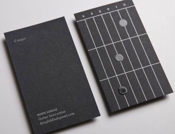 Doug Liddle Guitar Instruction ギターコードを覚えることができる名刺デザイン、Cメジャー。