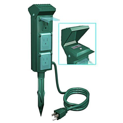 outdoor christmas light yard power stake with photocell 10 ft cord 6 grounded outlets with. Black Bedroom Furniture Sets. Home Design Ideas