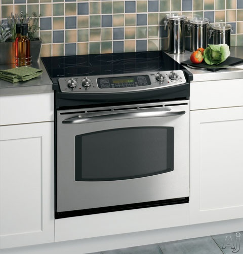 """GE JD968 30"""" Drop-In Electric Range with Ceramic-Glass Cooktop, 5 Radiant Elements, 4.1 cu. ft. Self Clean PreciseAir Convection Oven, SmartSet Glass Touch Oven Controls, Heavy-Duty Self Clean Racks and ADA Compliant"""
