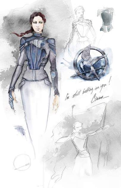 The Hunger Games: Mockingjay costume design from Cinna's sketchbook. Elegant watercolors.