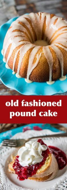7 simple ingredients make up this classic, old fashioned pound cake. It's thick and rich with a golden interior. Top with a sweet vanilla glaze for a simple dessert.