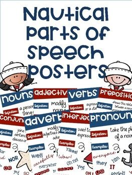 You will receive posters with a nautical theme and the following 8 parts of speech: nouns verbs adjectives adverbs pronouns prepositions conjunctions interjections Each poster contains a nautical picture, definition of the part of speech and examples of the part of speech.