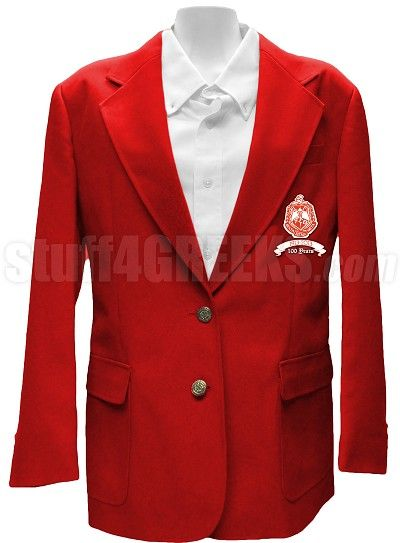 Delta Sigma Theta Centennial Blazer Jacket with Crest, Red
