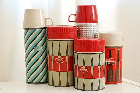 Vintage thermos - the tall ones had a cup handled top for hot drinks while the short fat ones were for soups in your metal lunchbox which actually had a wire holder for keeping the thermos from moving about when being transported.