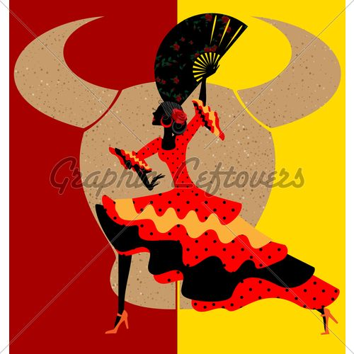 on abstract red-yellow background is Spanish dancer-woman