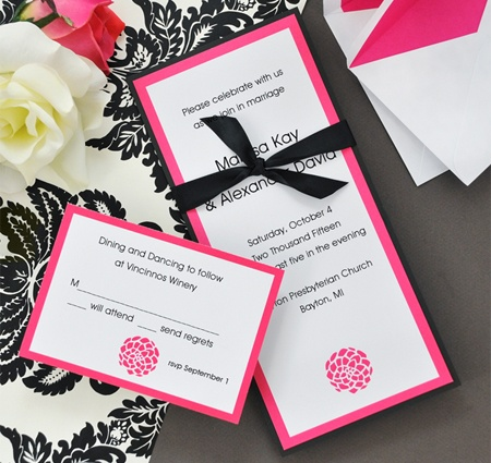 DIY Fuchsia Flower Invitations Kit From Wedding Favors Unlimited