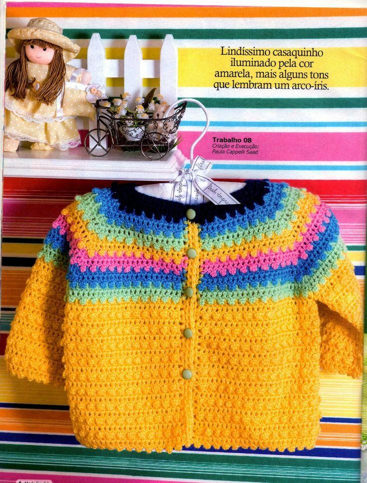 Mania-de-Tricotar: Lindo casaquinho arco íris de crochê p/ o seu bebê.