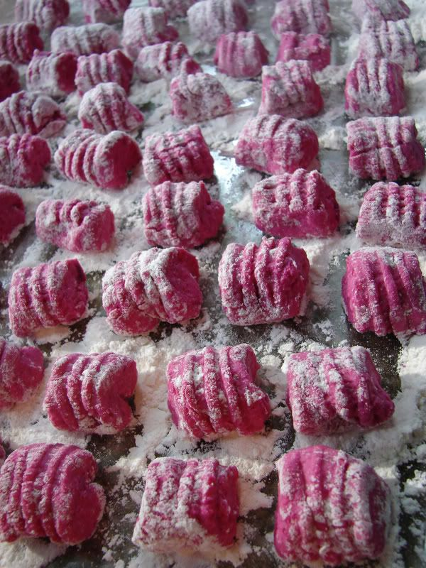 Homemade beet root gnocchi pasta recipe with rosemary infused butter