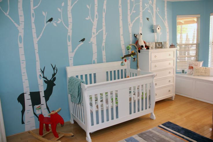 Blue and White Woodland NurseryChild Room, Nurseries Room, Kid Playroom, Kids Playrooms, Kids Room, Room Ideas, Projects Nurseries, Baby Room, Nurseries Ideas