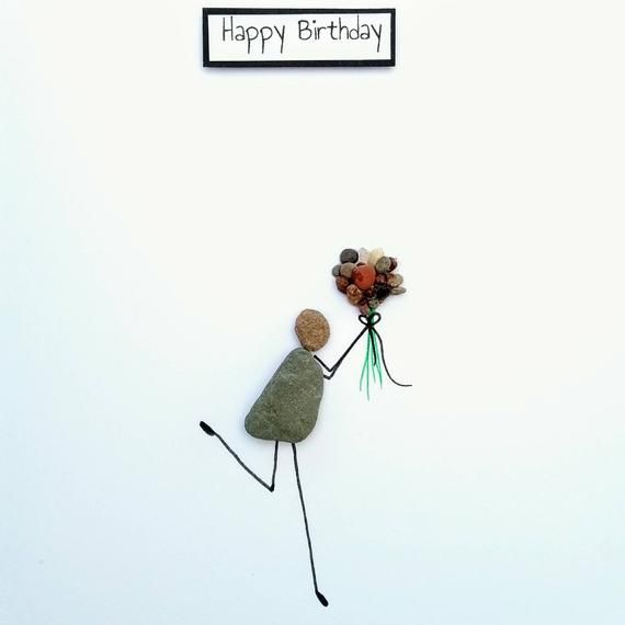 Birthday Card Pebble Art Pebble Picture Personalised Card Stick Man Card Quirky Card Unusual Card Best Friend Card Funny Card Handmade Card Pebble Art Friend Cards Funny Pictures Personalized