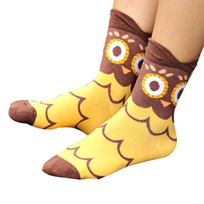 Moonlight Owl Socks (D) #Brown #Yellow