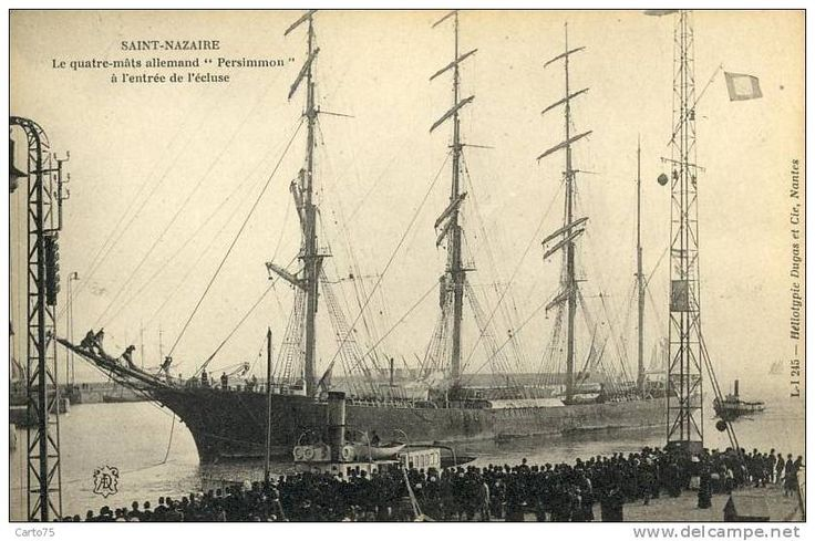 "Four-masted barque ""Perssimon"" entering St-Nazaire"