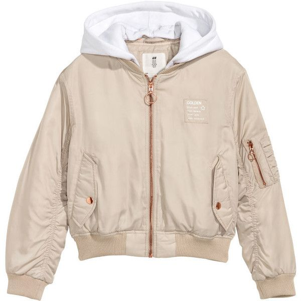 H&M Hooded Bomber Jacket $24.99 ($25) ❤ liked on Polyvore featuring outerwear, jackets, blouson jacket, padded jacket, padded bomber jacket, bomber style jacket and pink flight jacket