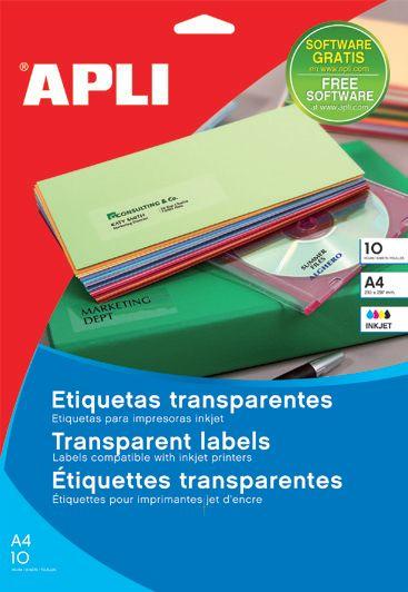 ETIQUETAS TRANSPARENTES BRILLANTES. Etiquetas adhesivas transparentes cristal. Cajas de 10 hojas tamaño A4. Para impresoras de inyección de tinta, blanco y negro o color.
