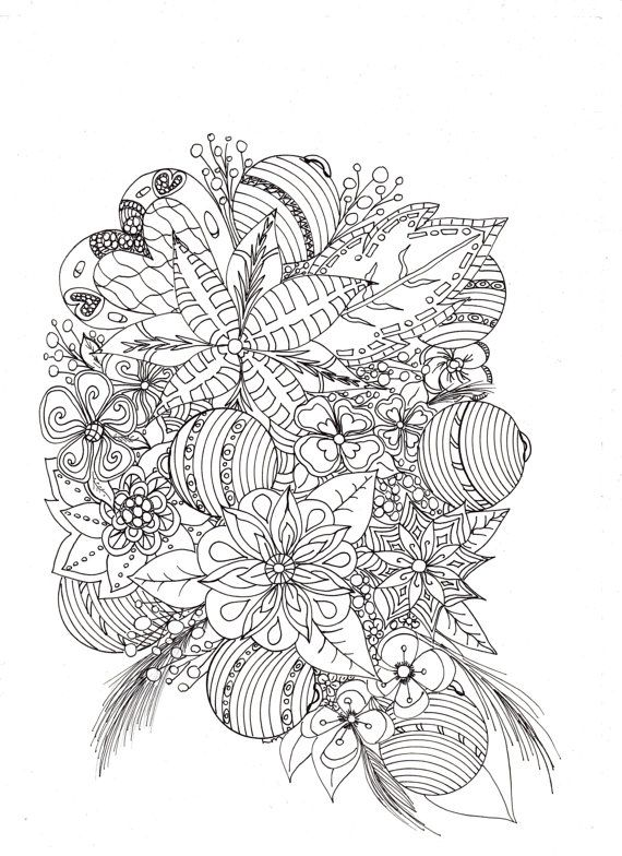 Christmas Bouquet by ColourItByLynneMcGee on Etsy