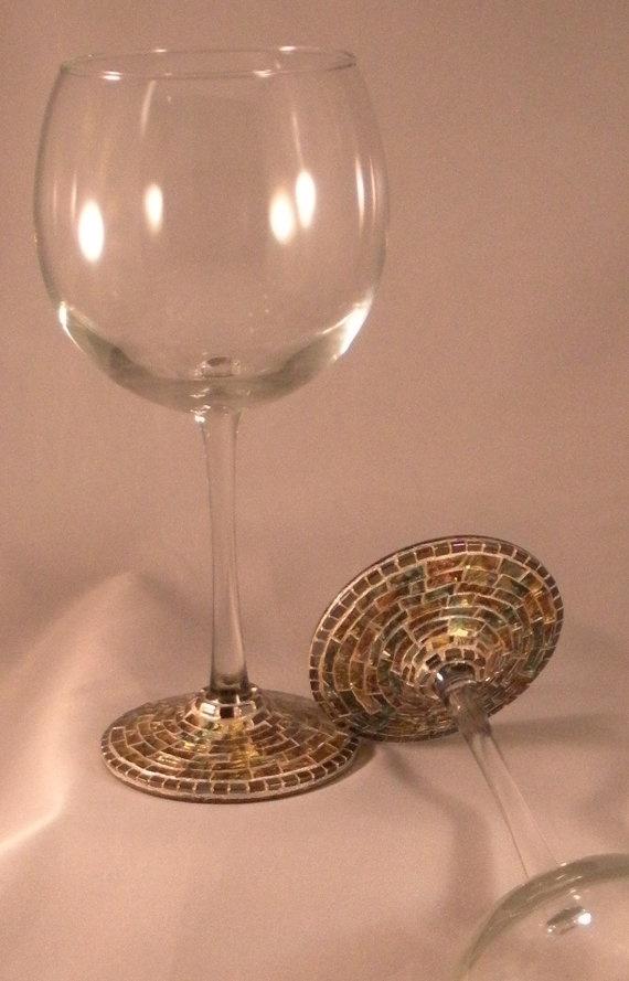 Handmade mosaic stemware. I like this idea!