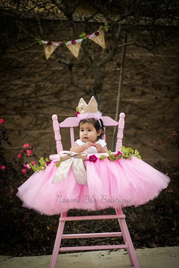 Vintage Floral Lace Pink High Chair tutu Crown Banner by NaomiBlu