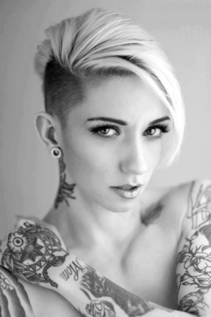 An Awesome Touch To Your Hair Style With Half Shaved Hairstyle Only For You : Half Shaved Short Hairstyles Women , This Style Is Combination Of Pixie Cut And Mohawk Style This Style Is Good For Any Hair Type