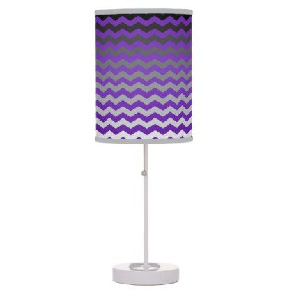 Seamless Gradient Chevron Pattern - Purple Table Lamp - stylish gifts unique cool diy customize