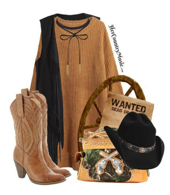 Country Outfit Country Cutie in warm browns and black at http://HerCountryMusic.com