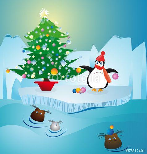 """Scarica il vettoriale Royalty Free  """"cold penguin  making christmas tree at North Pole"""" creato da TTL media al miglior prezzo su Fotolia . Sfoglia la nostra banca di immagini online per trovare il vettoriale perfetto per i tuoi progetti di marketing a prezzi imbattibili!"""