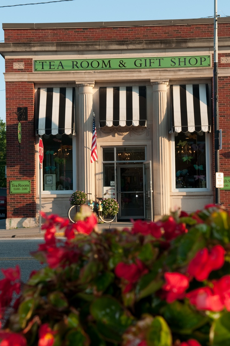Store Front: Tea Rooms, Stores Front, Teas Rooms, Teas Shops, Teas Gifts, Gifts Shops, Brick Storefront, Black White Stripes, Shops Front