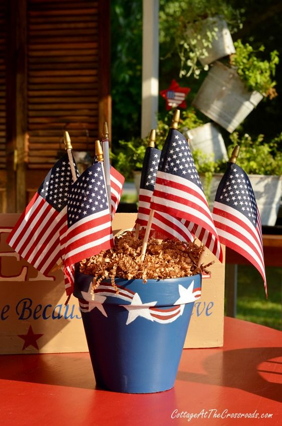 Patriotic Painted Pot