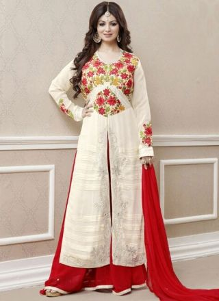 Ayesha Takia Beige Red Embroidery Work Georgette Designer Pakistani Suit http://www.angelnx.com/Salwar-Kameez/Bollywood-Salwar