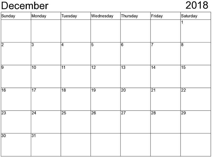 Calendar December 2018 Free December 2018 Calendar Pinterest