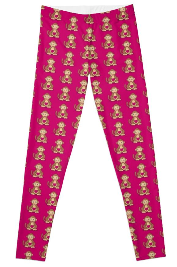 """Monkey Love"" Leggings by Savousepate on Redbubble #leggings #leggins #pants #monkey #ape #love #heart #valentinesday #cute #kawaii #pink #magenta #fushia #brown"