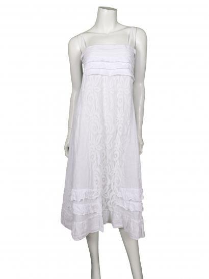 Damen Kleid / Rock aus Leinen, weiss