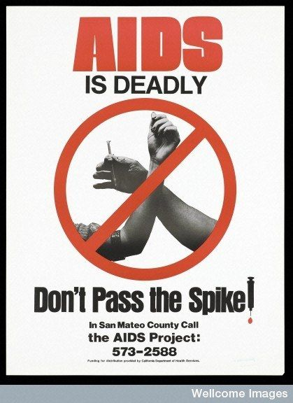 Other posters took note of the dangers of sharing needles. | These Posters Show What AIDS Meant In The 1980s - BuzzFeed News
