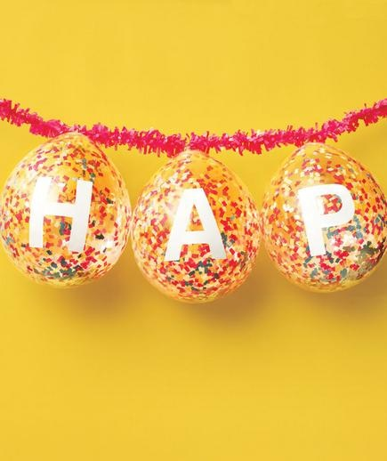 How to make a birthday banner with confetti balloons~ Great idea for a celebratory party or holiday.
