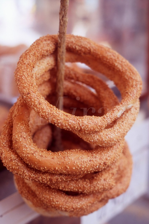 Fresh Koulourakia (Sesame Bread Ring) on sale in Rethymnon, Crete, Greece.