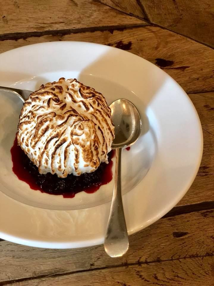 Yoghurt and vanilla baked Alaska, Genoese sponge, berry compôte. Simple fare at The Village Pub, Barnsley village near #Cirencester, Cotswolds #pub #restaurant