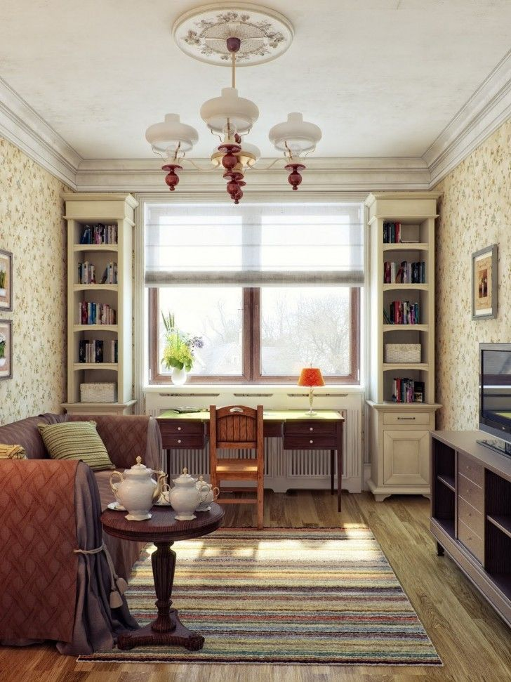 Interior Design, Cream Red Living Room Decor Creative Brown Chandelier  Window Glass Table Books Two Part 82