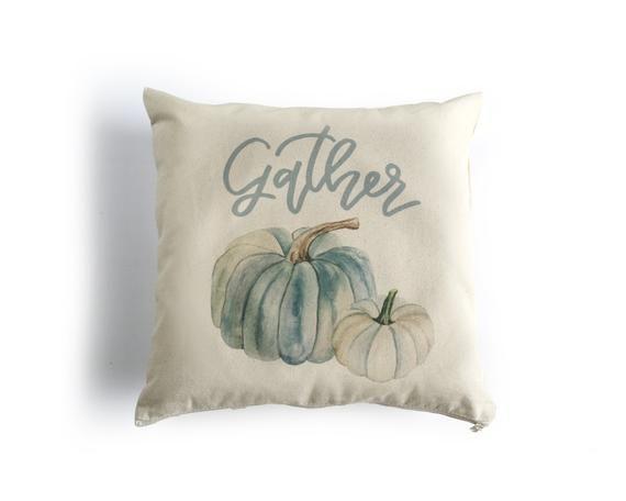 Watercolor fall pumpkin pillow cover
