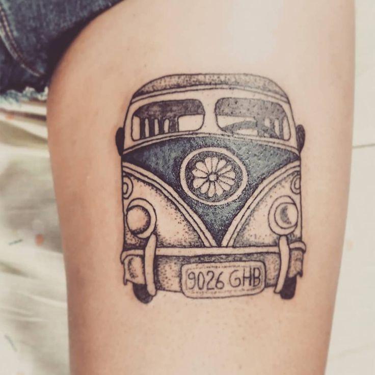 Tattoo by ZM Free Spirit Artist  http://www.manonzampieri.com  Vanlife - Furgo - Dotwork - Color ) Flowers  - TATTOO -   Never stop to travel !   #freespirit #creativemadness