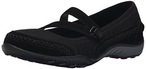 Skechers Sport Women's Lovestory Mary Jane Slip-On Flat, Black, 7.5 M US