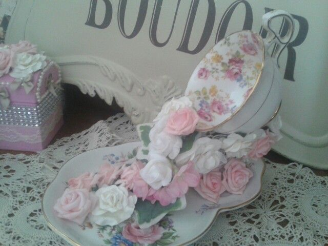 Vintage tea cup and saucer bursting with cascading flowers for sale £18 each.  www.countrychicinteriors.com