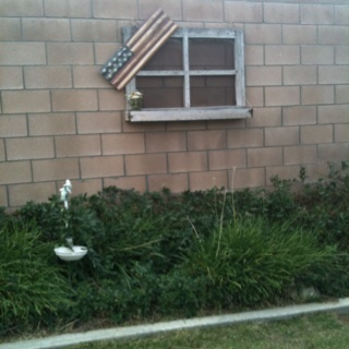 Old screened wooden window box to bring my country theme out doors