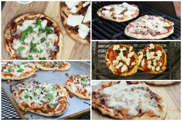Pizza sur pain naan sur feu de bois