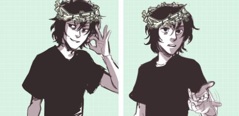Nico wearing a crown made out of bones, so cute!