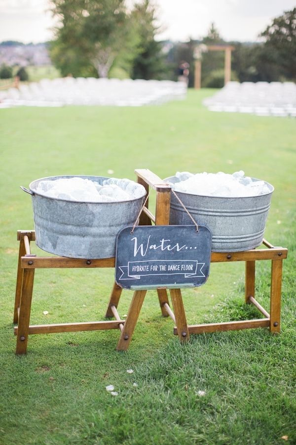 Hydrate for the dance floor! http://www.stylemepretty.com/wisconsin-weddings/middleton-wisconsin/2015/09/14/rustic-romantic-garden-inspired-wisconsin-wedding/ | Photography: Booth Photographics - http://boothphotographics.com/